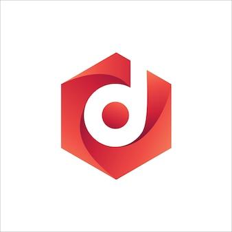文字d六角形ロゴベクトル