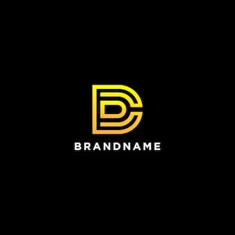 線のスタイルと抽象的な創造的な文字dロゴシンボル
