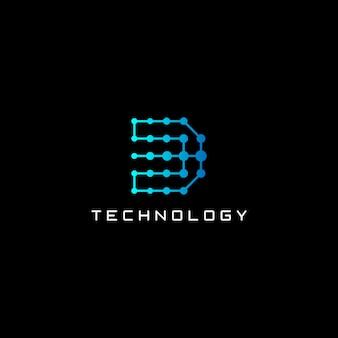 デジタルの抽象的な手紙dロゴデザイン