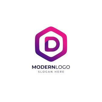 モダンな手紙dロゴデザインテンプレート