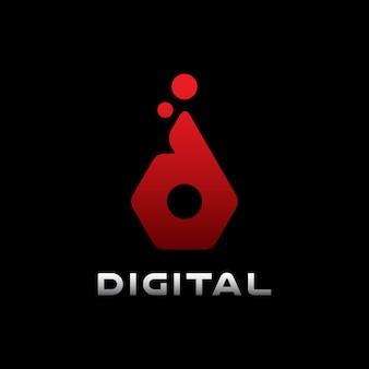 Современный цифровой дизайн логотипа буква d