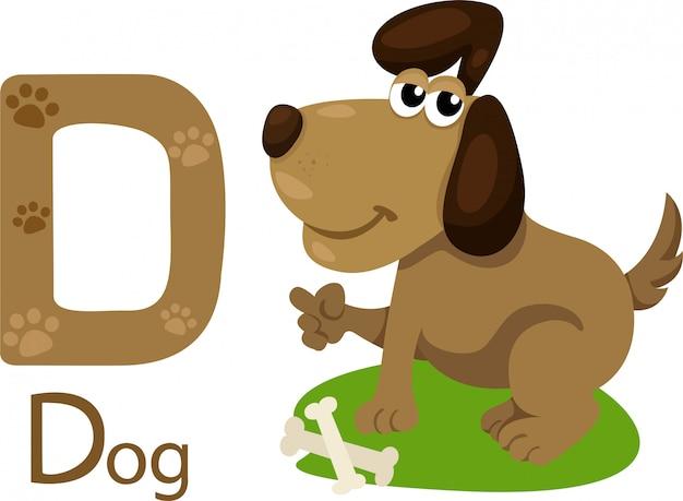 Иллюстрация изолированного животного алфавита d для собаки