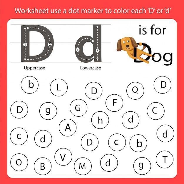 ワークシートの文字を探すドットマーカーを使って各dに色を付けます