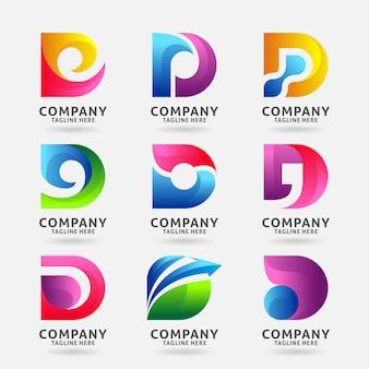 手紙dモダンなロゴのテンプレートデザインのコレクション