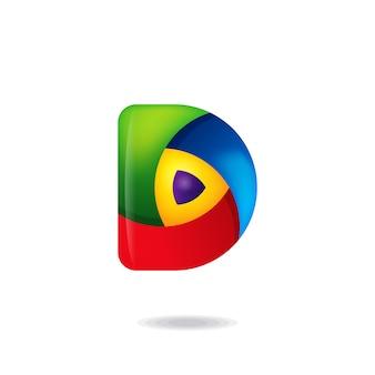 Буква d логотип кнопки воспроизведения