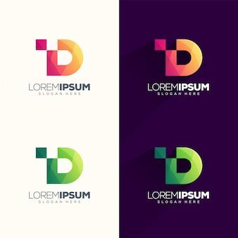 文字dピクセルのロゴデザインベクトルイラスト