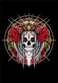 Dãa de muertos иллюстрация векторной графики женщина арт дизайн футболка dãa de muertos вектор dãa de muertos