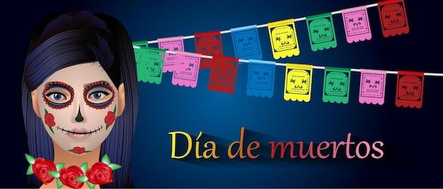 Да-де-лос-муэртос мексиканский праздник день мертвых векторная иллюстрация мексиканский праздничный