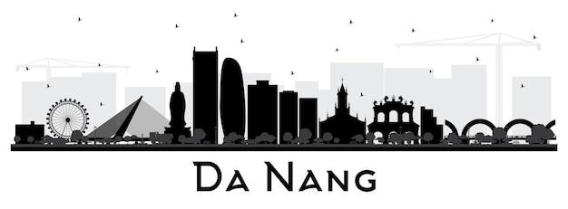 흰색 절연 검은 건물 다낭 베트남 도시 스카이 라인 실루엣. 벡터 일러스트 레이 션. 현대 건축과 비즈니스 여행 및 관광 개념입니다. 랜드마크가 있는 다낭 도시 풍경.