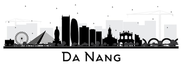 Da nang vietnam city skyline silhouette with black buildings isolated on white. vector illustration. business travel and tourism concept with modern architecture. da nang cityscape with landmarks.