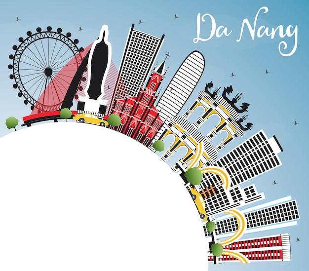 컬러 건물, 푸른 하늘 및 복사 공간이 있는 다낭 베트남 도시의 스카이라인. 벡터 일러스트 레이 션. 현대 건축과 비즈니스 여행 및 관광 개념입니다. 랜드마크가 있는 다낭 도시 풍경.
