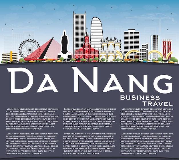 Da nang vietnam city skyline with color buildings, blue sky and copy space. vector illustration. business travel and tourism concept with modern architecture. da nang cityscape with landmarks.