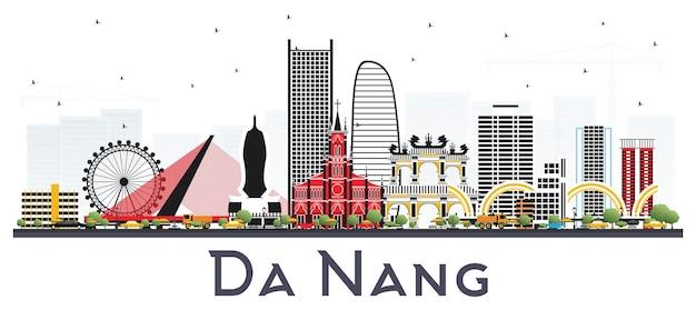 Горизонты города вьетнам дананг с зданиями цвета изолированные на белизне. городской пейзаж дананга с достопримечательностями.