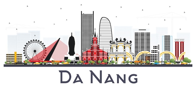 Da nang vietnam city skyline with color buildings isolated on white.  da nang cityscape with landmarks.