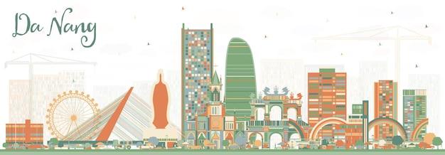 컬러 건물이 있는 다낭 베트남 도시의 스카이라인. 벡터 일러스트 레이 션. 현대 건축과 비즈니스 여행 및 관광 개념입니다. 랜드마크가 있는 다낭 도시 풍경.