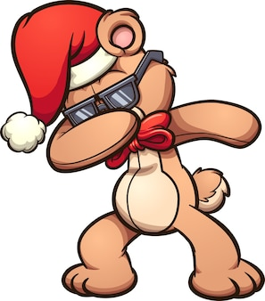 Вытирая прикольный мультяшный рождественский медведь.