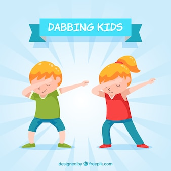 Dabbing kids in flat style