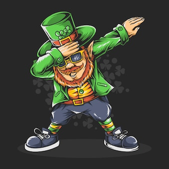 Dabbing st. patrick's day bearded man in glasses and hat. editable layers artwork