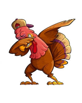 Dabbing turkey illustration