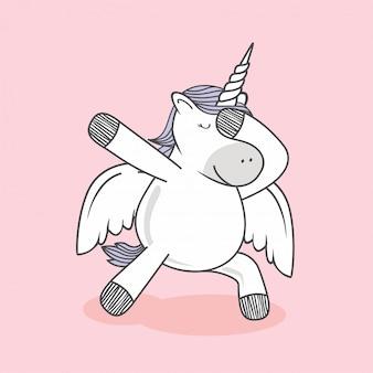 Dabbing unicorn doodle dab dance cartoon pegasus