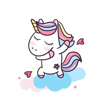 Dabbing unicorn with hearts
