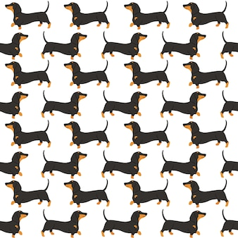 Dachshund in action seamless pattern