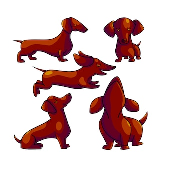 Dachshund cartoon color characters set