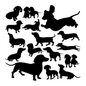 Dachshund dog animal silhouettes