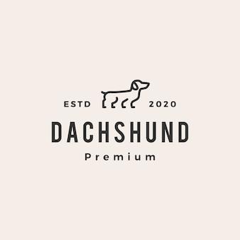 Dachshund dog hipster vintage logo icon illustration