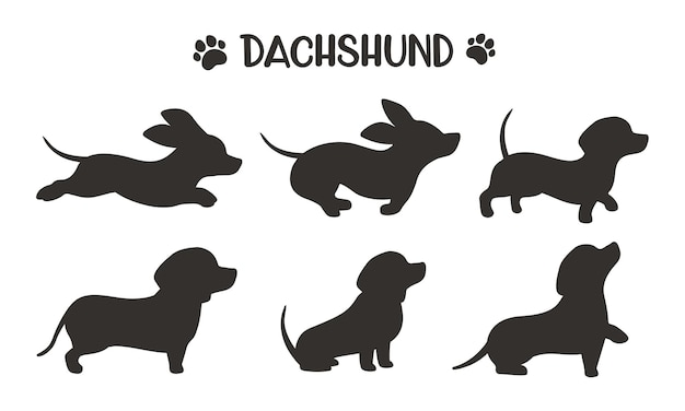 Dachshund dog silhouettes running in various poses