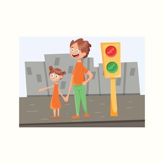 Папа и дочь переходят дорогу. векторная иллюстрация в плоском стиле