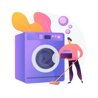 Папа и иллюстрация абстрактной концепции работы по дому. папа делает работу по дому, делает работу по дому, отец сын дочь складывает одежду, весело готовит, вместе убирается, мыть посуду