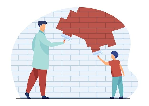 お父さんと子供の絵の壁。父と息子がアパートを改築または装飾します。漫画イラスト