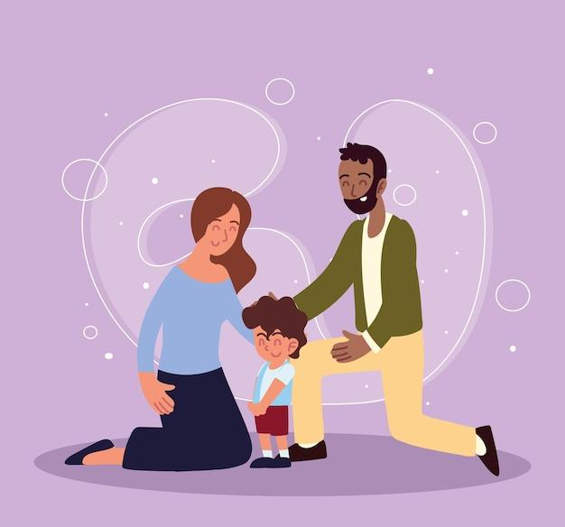 Папа и мама с приемным сыном