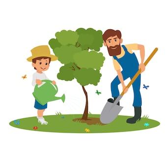 Папа и сын сажают деревья