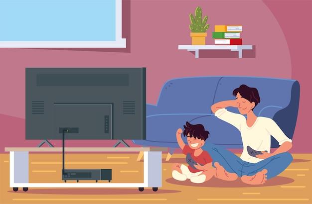 Папа и сын играют
