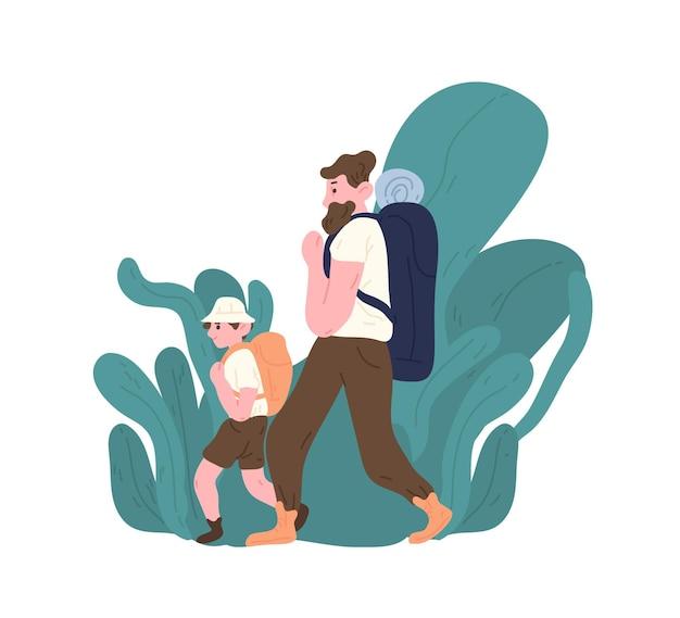 배낭을 메고 걷거나 하이킹을 하는 아빠와 아들. 부모와 자식 관광객 여행 또는 배낭. 가족 관광 활동. 행복한 아버지 또는 육아. 플랫 만화 다채로운 벡터 일러스트 레이 션.