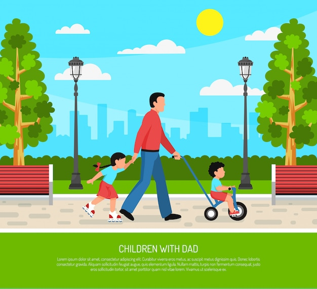 Dad children flat poster