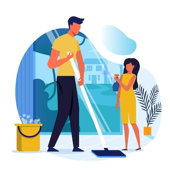 Dad and daughter mopping floor flat illustration