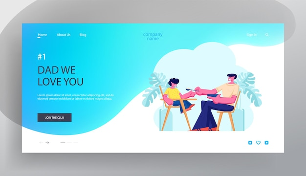 Dad feed son in special baby chair. father engaged in raising child. little boy having breakfast with daddy, happy family, website landing page