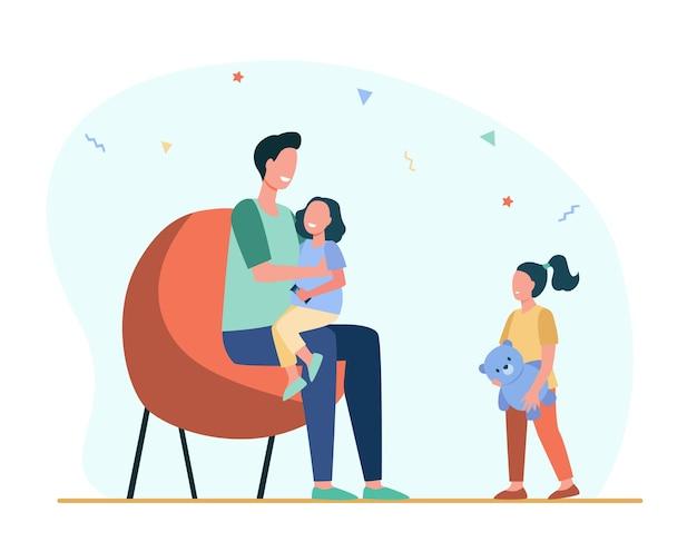 한 아이에게만 관심을 기울이는 아빠. 딸, 부모, 장난감 평면 그림.