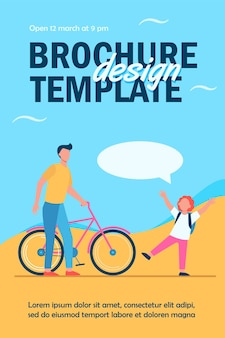 Dad giving bike to joyful son flyer template