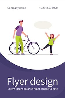 Dad giving bike to joyful son. red haired boy, speech bubble, bicycle flat illustration. flyer template