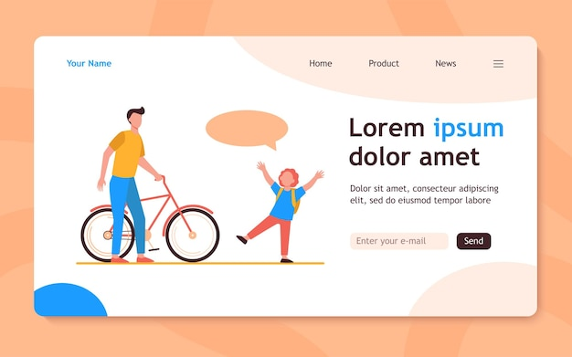 Dad giving bike to joyful son. red haired boy, speech bubble, bicycle flat  landing page. activity, childhood, family concept for banner, website design or landing web page