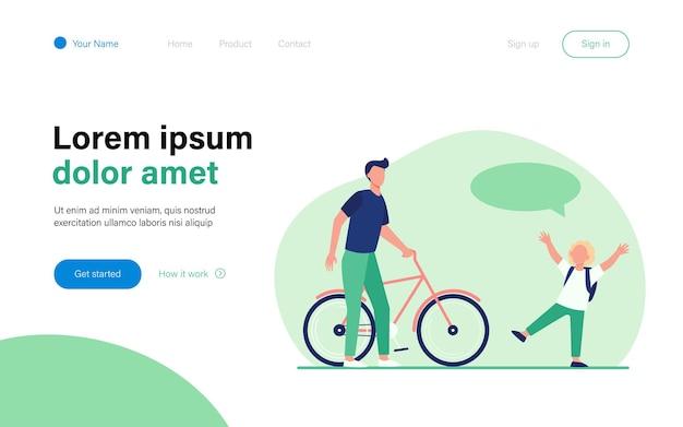 うれしそうな息子に自転車を与えるお父さん。赤い髪の少年、吹き出し、自転車フラットイラスト。活動、子供時代、家族の概念のウェブサイトのデザインまたは着陸のウェブページ