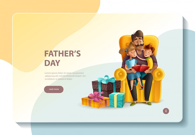 Dad hugging his kids banner template