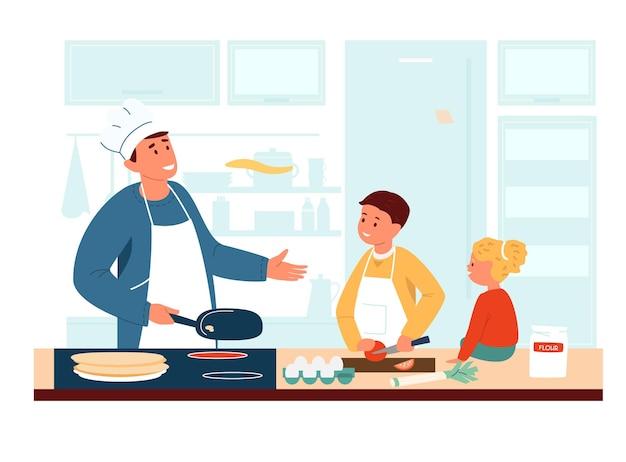 Папа в фартуке и поварской шляпе готовит с детьми на кухне.