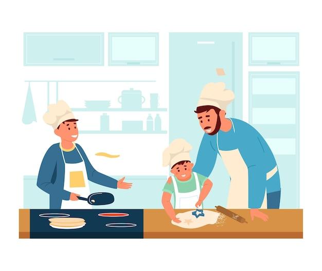 Папа в фартуке и поварской шляпе готовит с сыновьями на кухне.