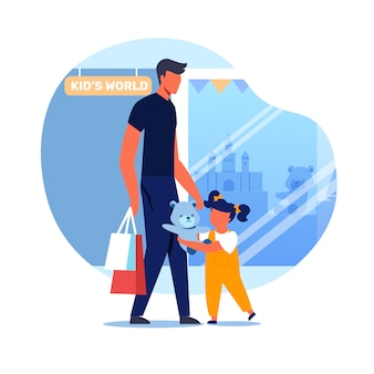 Dad and kid outside toy store vector illustration