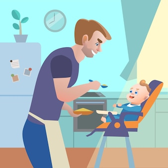 Dad in kitchen feeding child on highchair. vector cartoon illustration